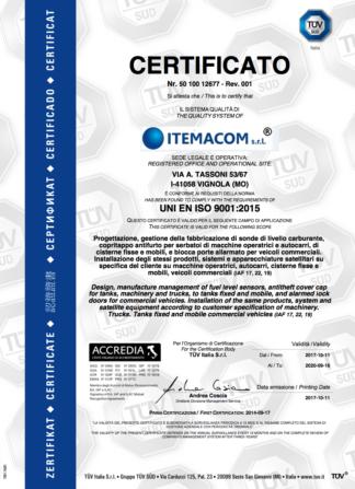 certificato uni en iso 9001: 2015